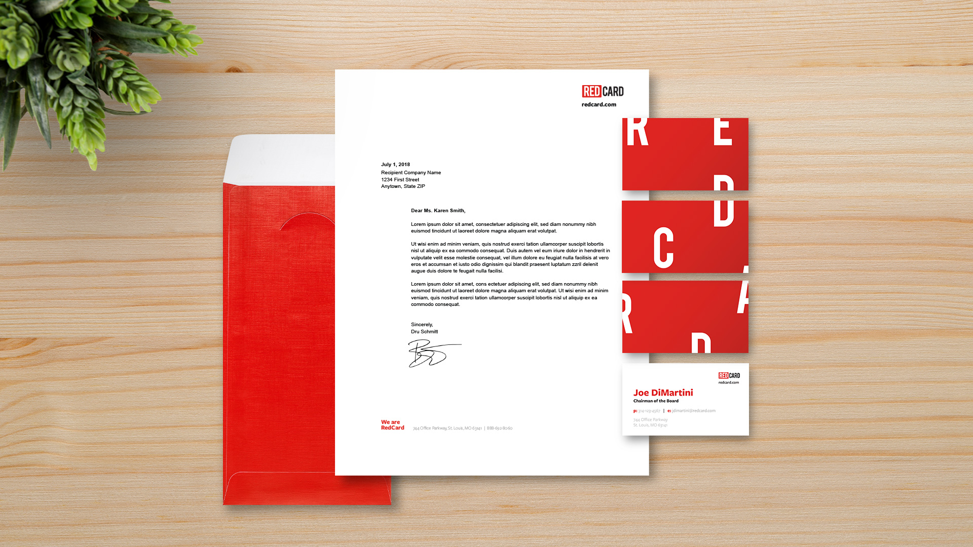 Branded stationery elements created specifically for the healthcare marketing company RedCard