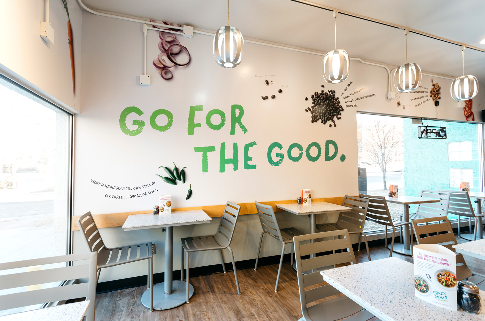Crazy Bowls and Wraps Interior Branding Design