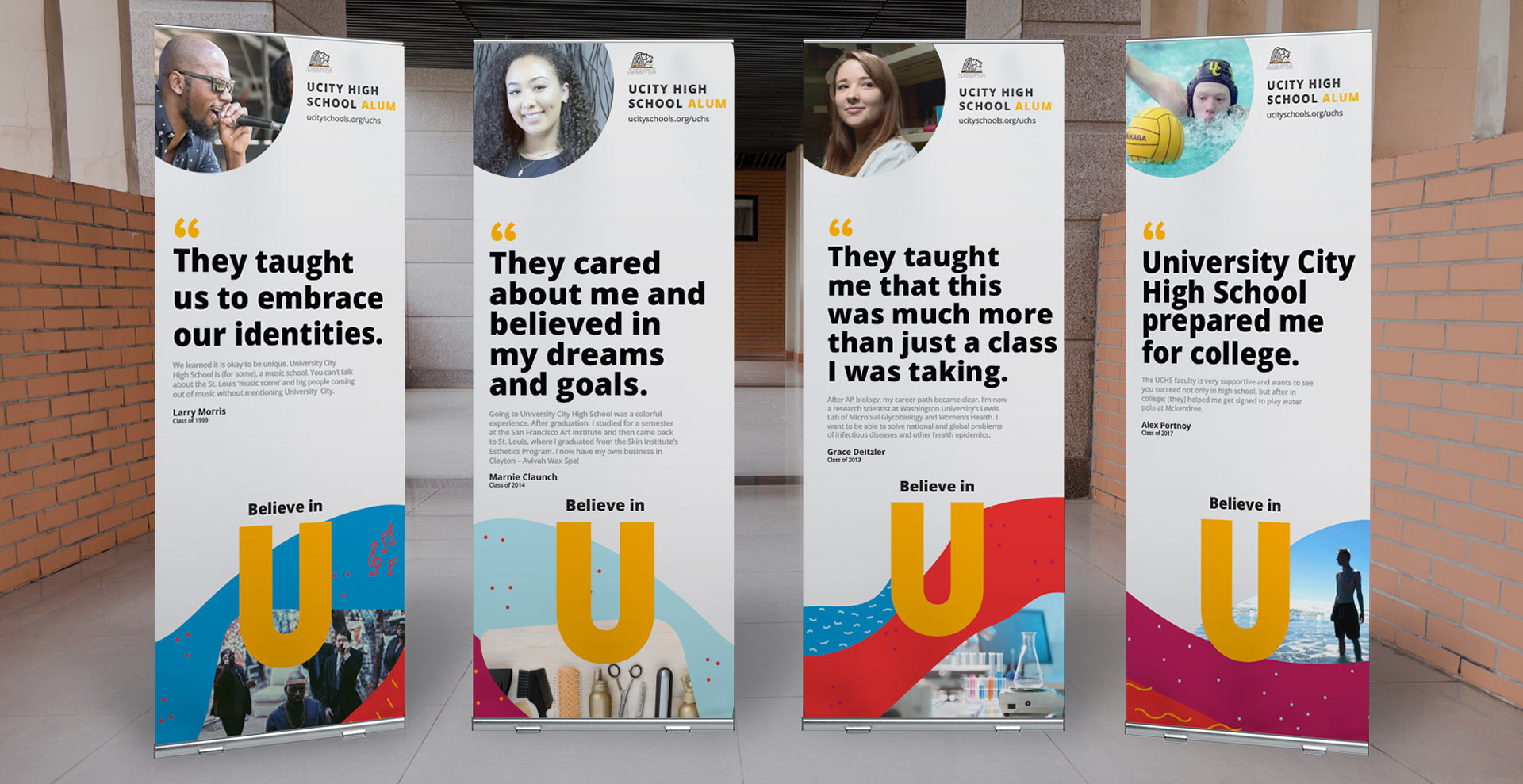 Branding and design on display banners for University City School District