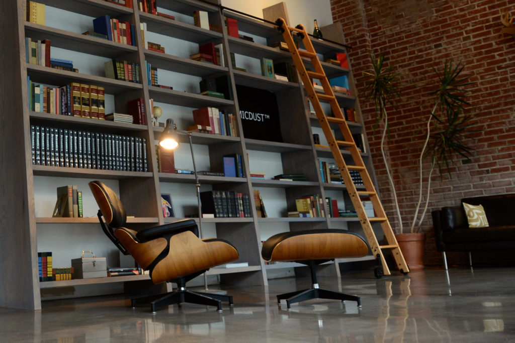 An Eames Lounge Chair sits in the Atomicdust lobby