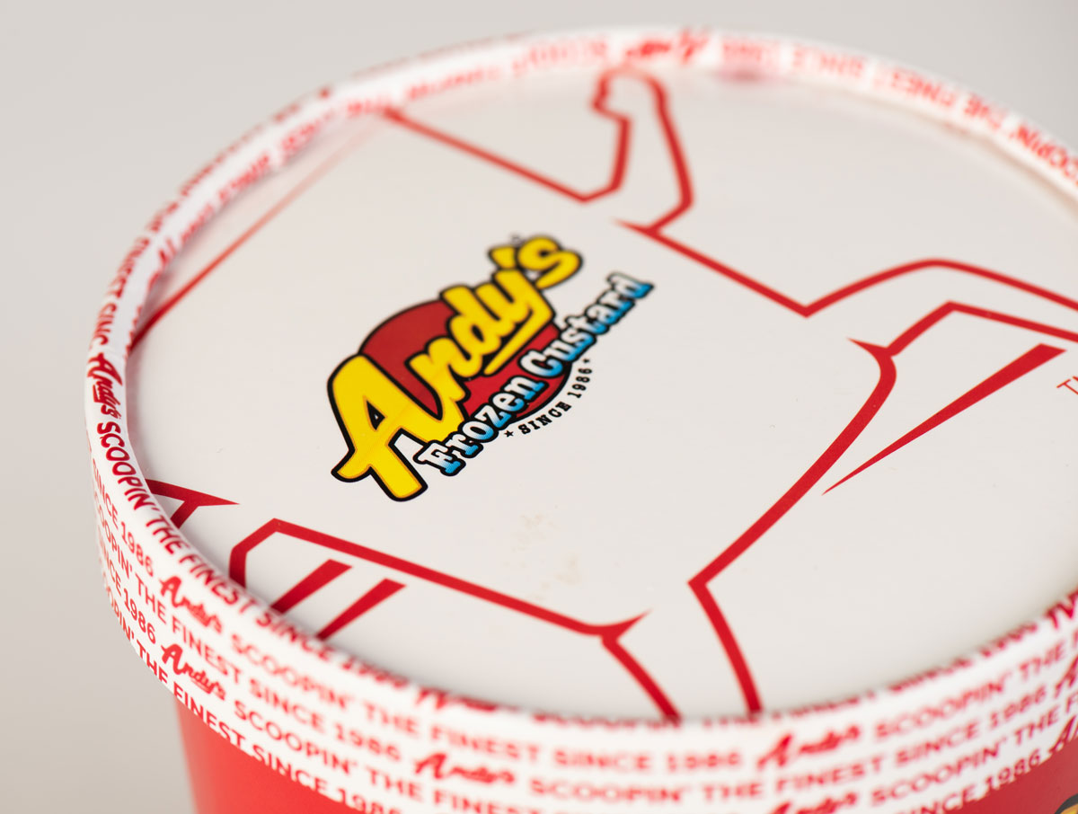 Close up of the lid on Andy's Anywhere new packaging design