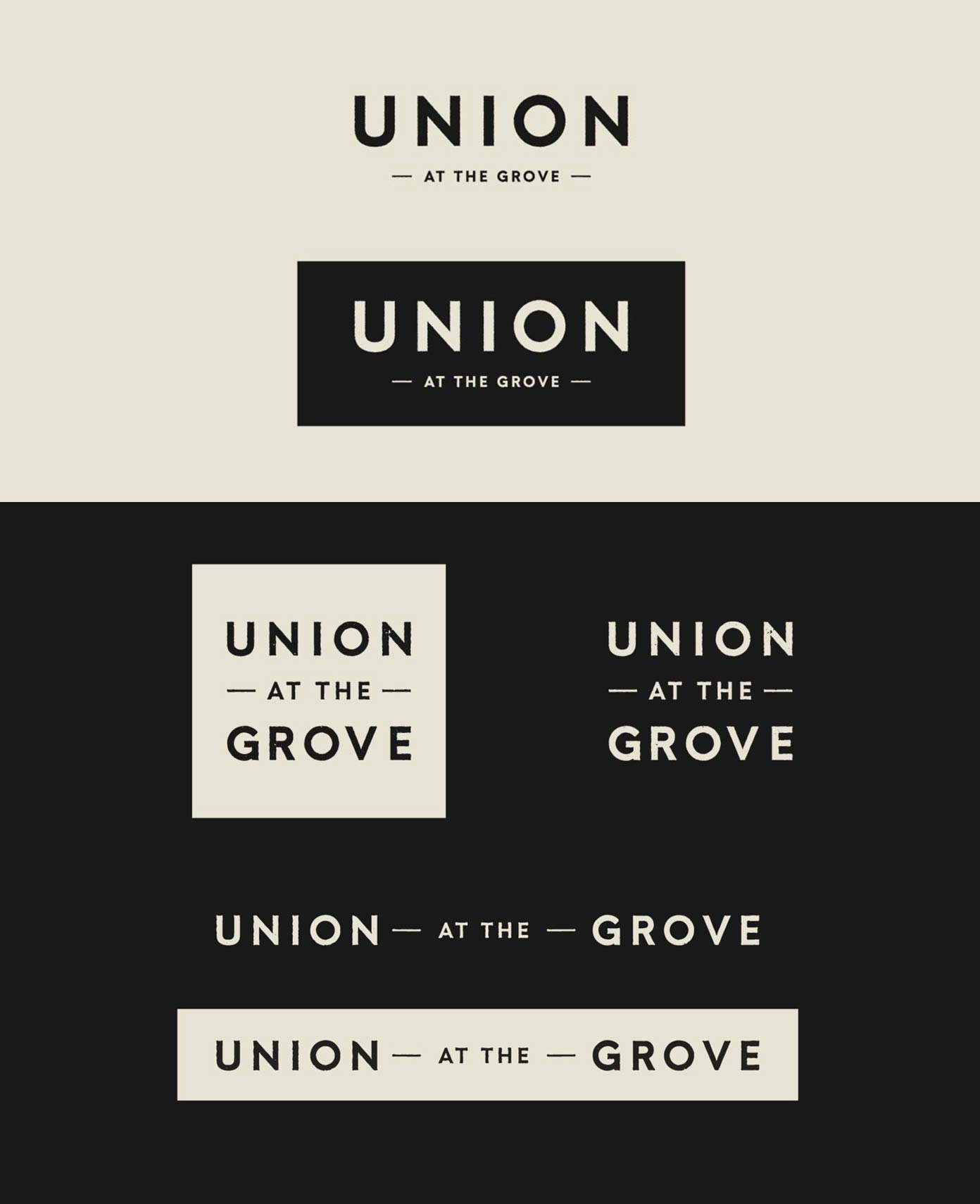 Logos and lockups of the Union at the Grove residential development branding