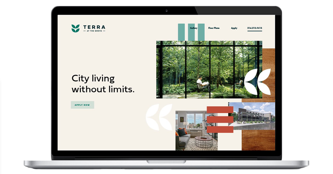 Creative expression showing how the residential development branding for Terra could live on the web