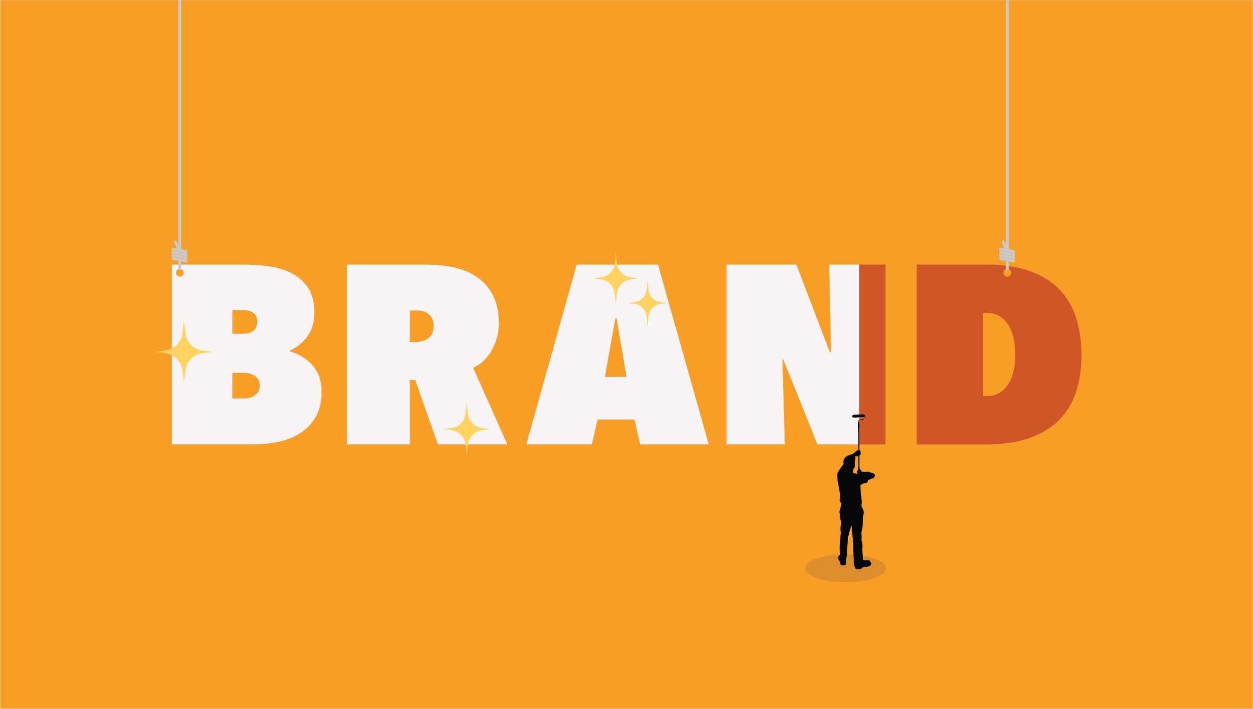 """Illustration of a person repainting the word """"brand"""" with a new color to represent a rebranding announcement"""